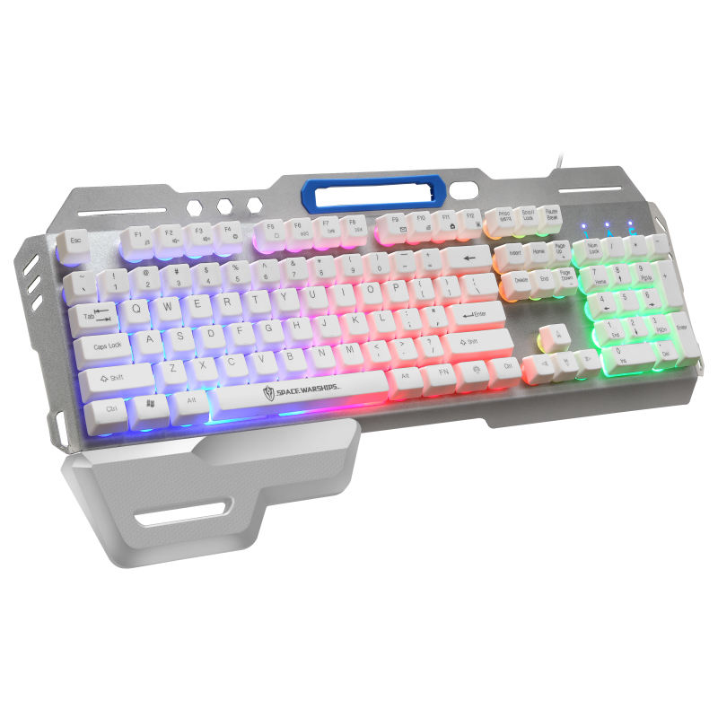 GK70 wholesale USB wired metal keyboard OEM with hand holding game machine combination office home suspension button