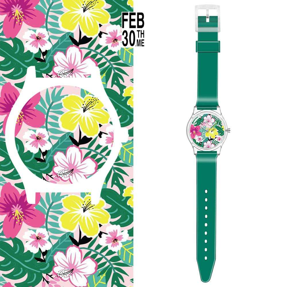 FEB 30TH Customized Design Photo Plastic Watches Lady Sublimation Blank Wrist Watches Recyle Plastic Watch Blank