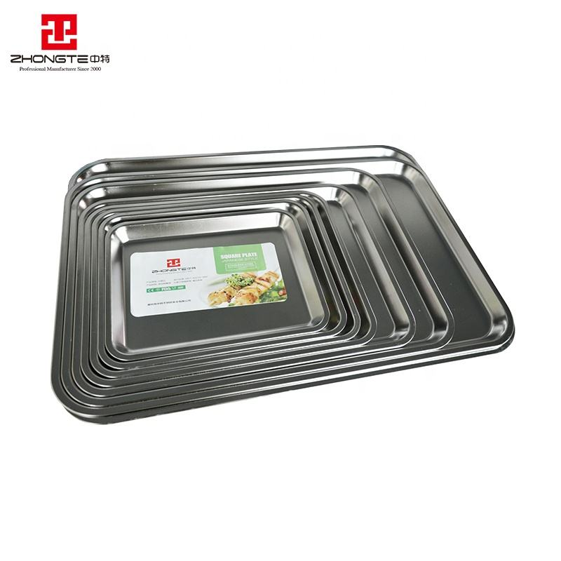 high quality stainless steel 304# BBQ serving plate meat thali tray