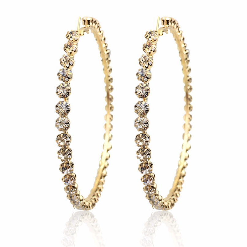 2020 New Trendy Rihanna Style Big Large Gold Plated Crystal Diamond Hoop Earrings