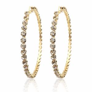 2020 New Trendy Rihanna Style Big Large Gold Plated Crystal Diamond Hoop Earrings