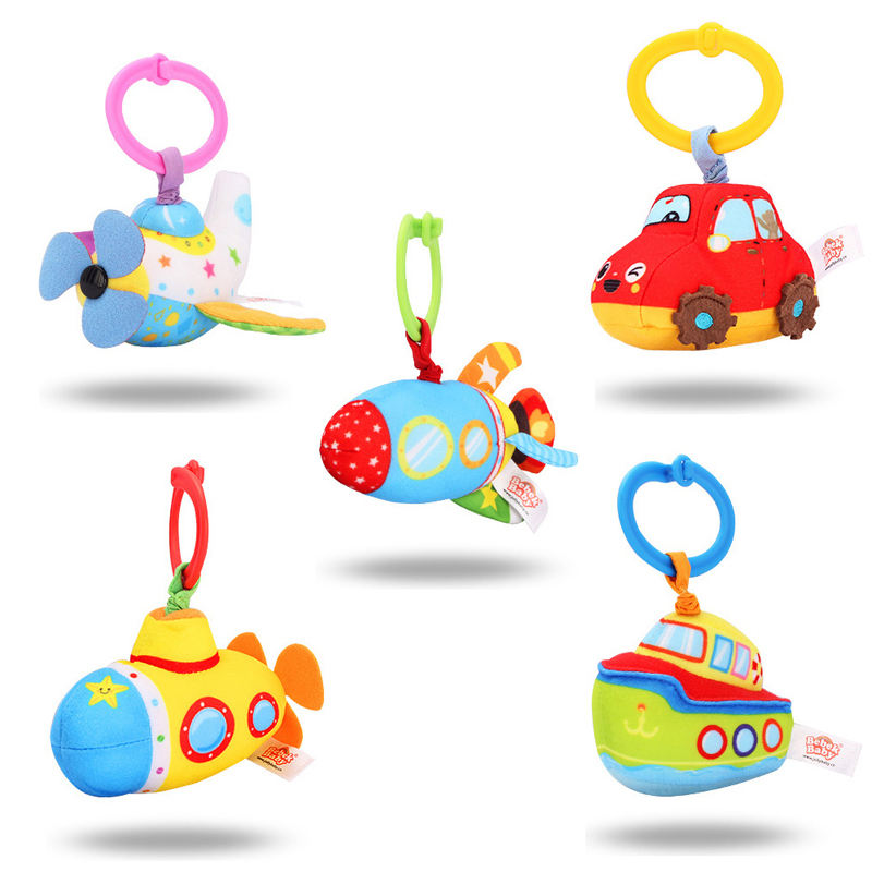 J903 vehicle soft kids hanging rattle and vibrator toy