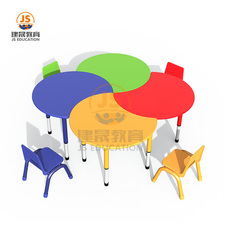 Height adjustable MDF Metal Children Classroom Wooden Table for Kindergarten