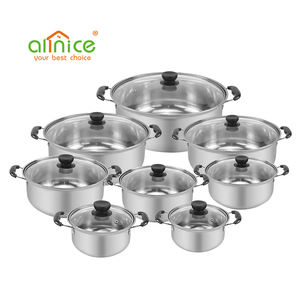 Wholesale home goods kitchen 8pcs soup pot stainless steel cooking pot cookware sets for sale
