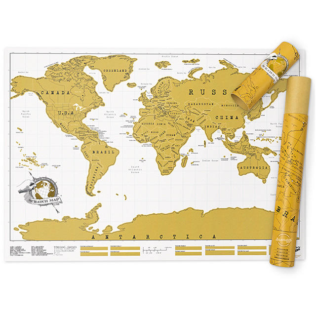 Maps International Scratch The World Travel Map - Scratch Off World Map Poster XL Large Size Travel Gift Beautiful Wall Art