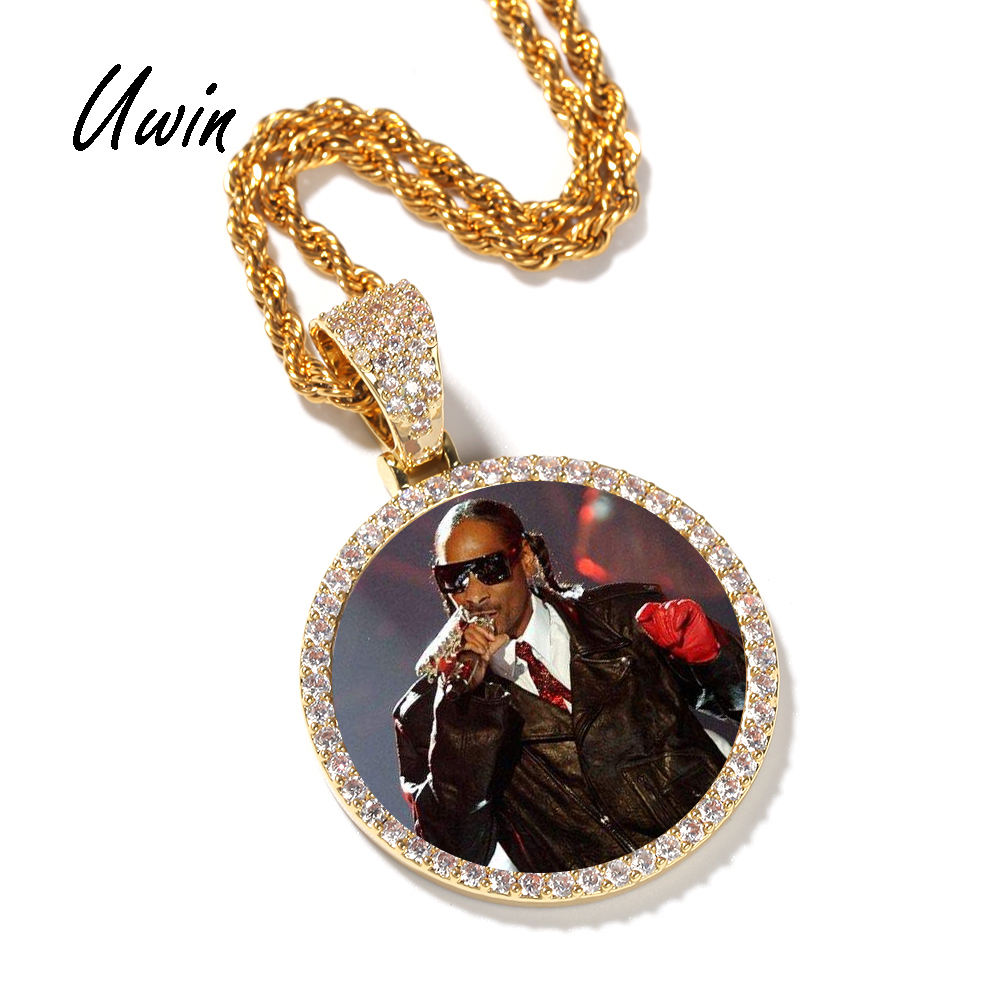 Hip Hop Iced Out DIY Photo Frame CZ Pendant Custom Picture Pendant Necklace Personalized Women Men Rapper Jewelry