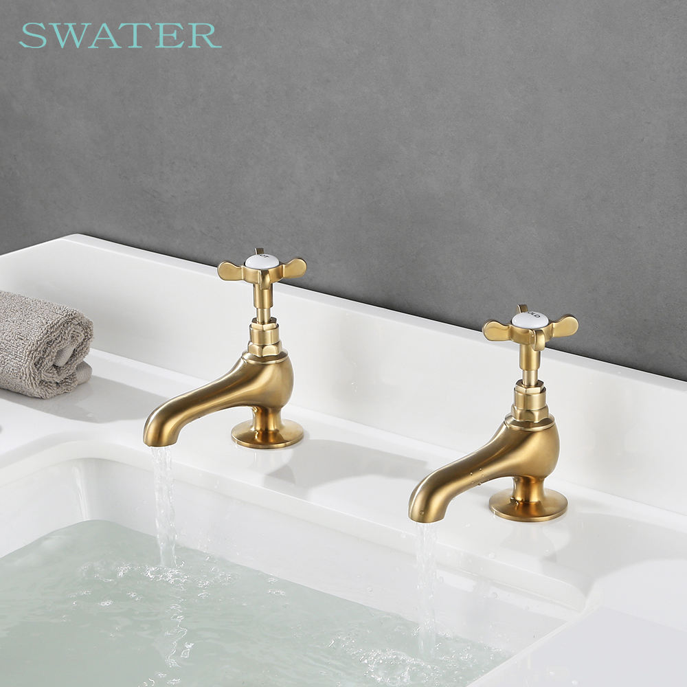 Lavatory Classic Double Cross Zinc Alloy Handle Cheap Brass Basin Faucet