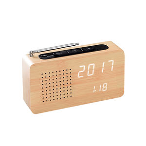 Cheap FM Radio Alarm Clocks Digital LED Wooden Desk Voice Control Function Electronic Date Temperature Table Clocks