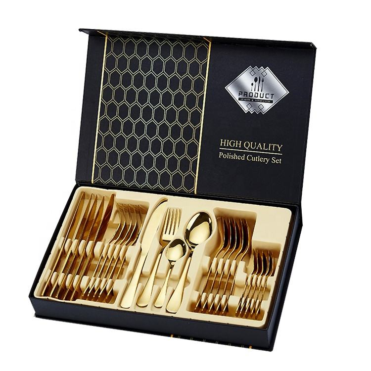 24 Piece Gold Wedding Flatware gift box packing steak knife fork spoon Matte Cutlery Set Stainless Steel