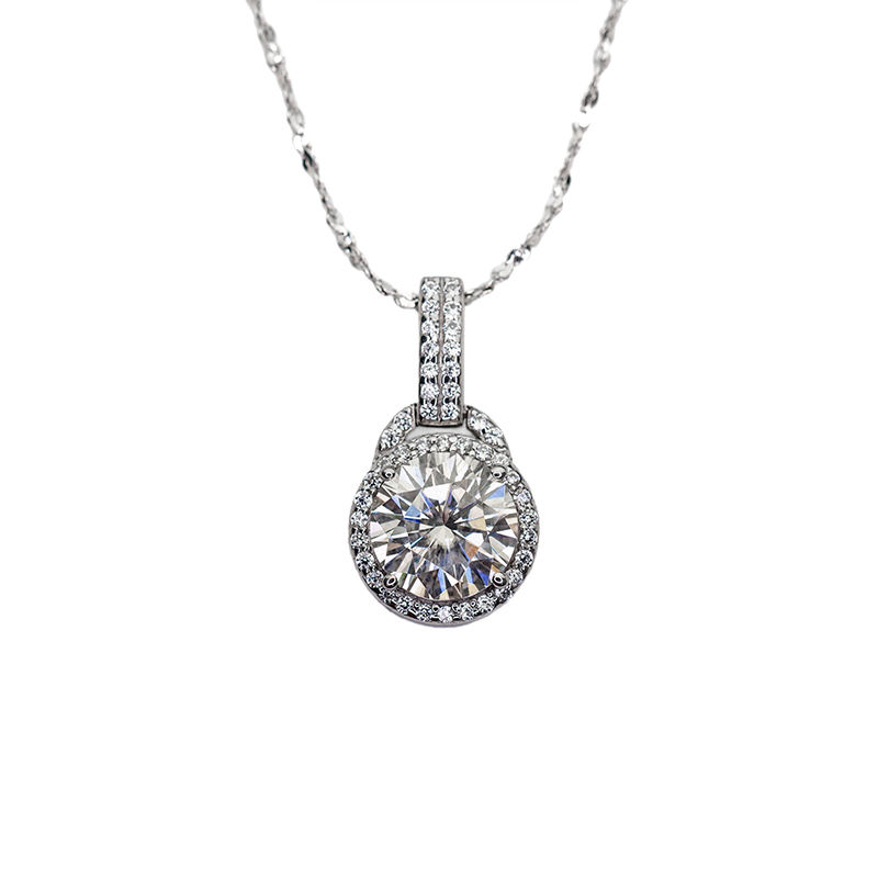 18k white gold 3ct D color 925 sterling silver moissanite diamond necklace