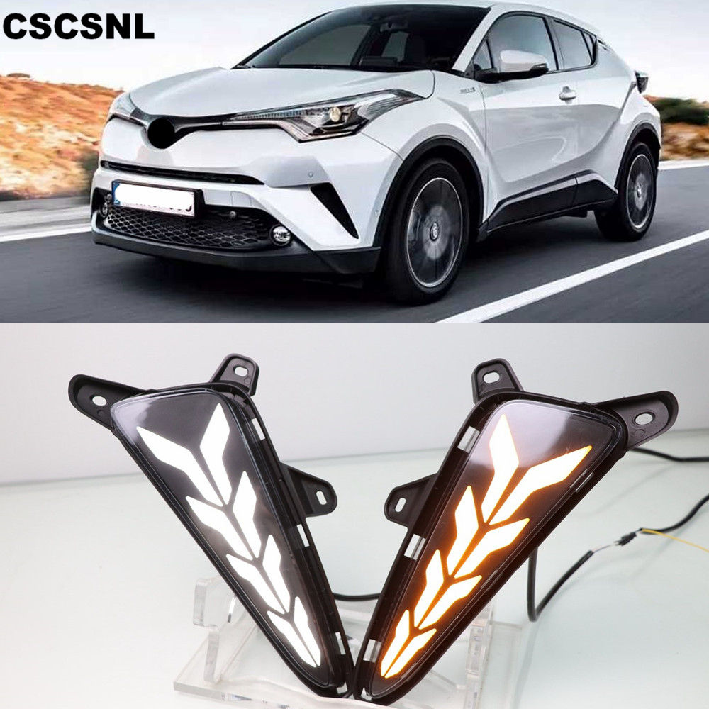 For Toyota C-HR CHR 2016 2017 2018 2019 Turn Signal Style Relay Waterproof ABS Car DRL LED Daytime Running Light Daylight