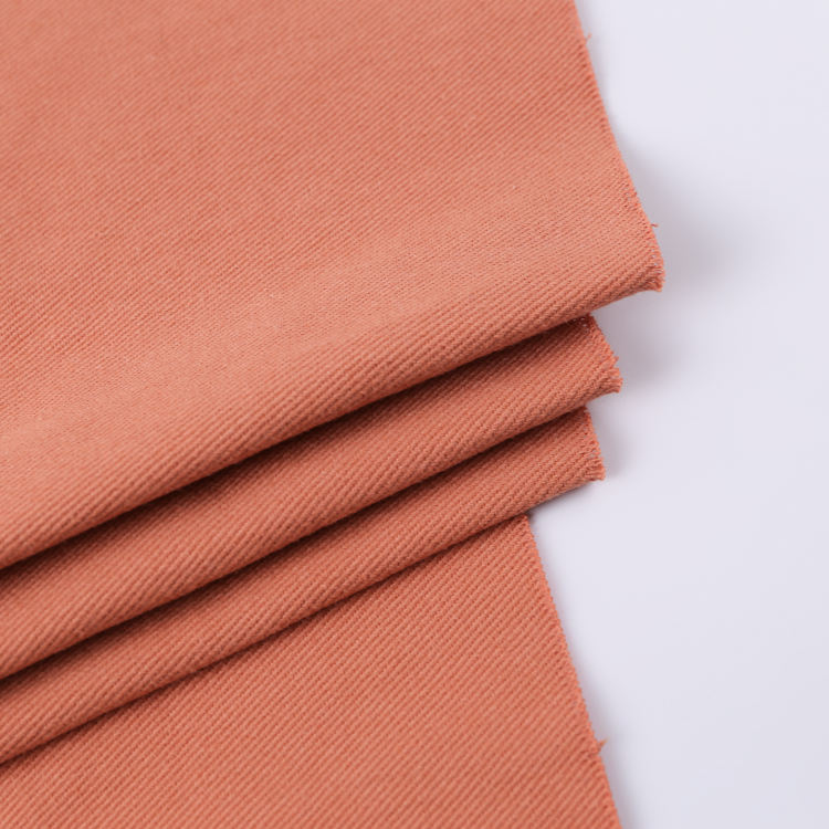In stock wholesale pure color thick textile plain dyed twill 100% cotton fabric for pants