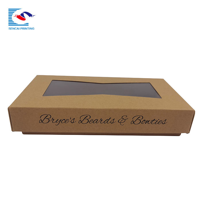 SENCAI factory custom made logo bow tie packaging kraft paper box with pvc window