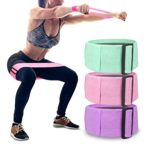 Adjustable Yoga Anti slip Resistance Bands Leg Hip Loop Roll Up Exercise Fitness