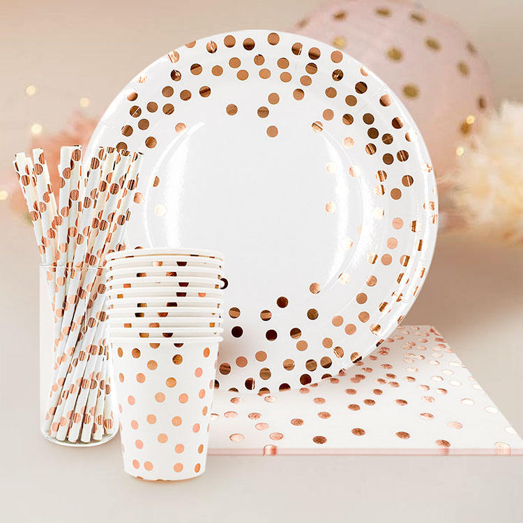 Nicro Wholesale 55 Pcs Rose Gold Foil Dot Dinnerware Party Supply Biodegradable Party Paper Plate Set
