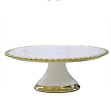 High Quality White Elegant Weeding Ceramic Cake Stand with Embossment Design Bakeware