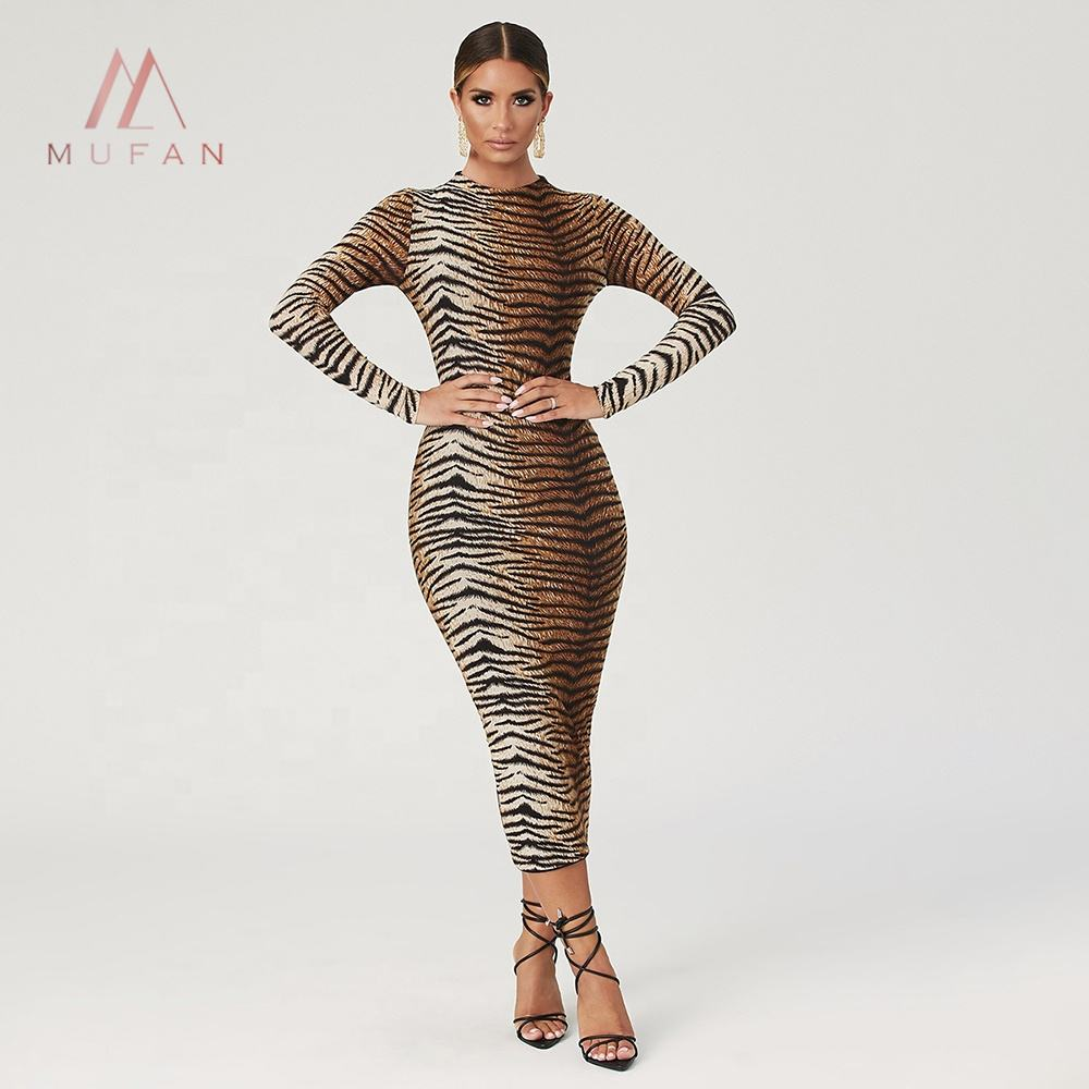 vestidos Woman clothing latest customized design 2020 long Sleeve maxi Designer Leopard Printed Long Dress