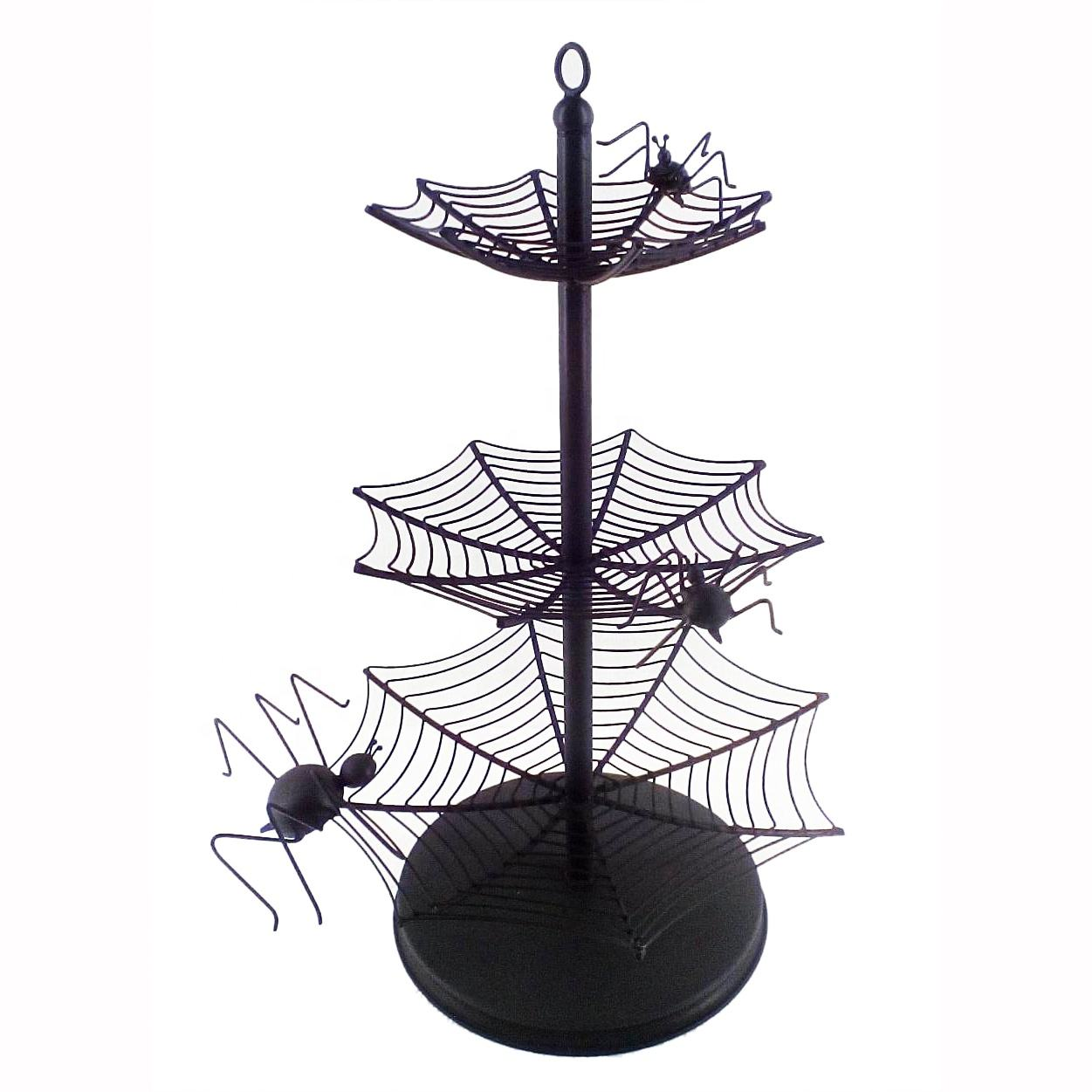 Attractive Matt Black Color Iron Metal 3 Tier Wedding And Cake Shop Decorative Cake Stand