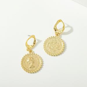 New fashion Indian metal coin earrings retro personality alloy baroque portrait geometric earrings