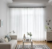 White faux linen hotel sheer curtains sheer for living room tulle