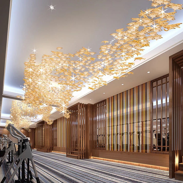 Contemporary hotel lobby luxury decoration elegant gold acrylic ABS pendant lamp