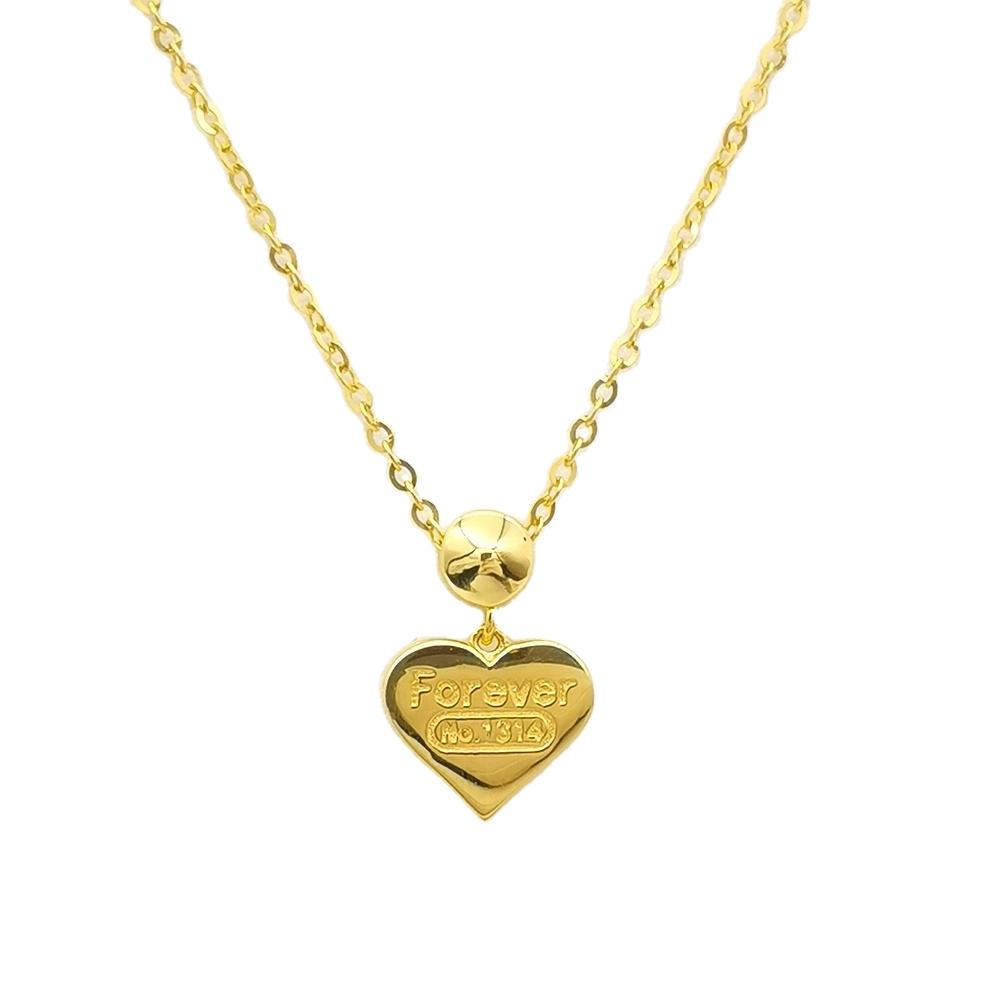 Hot Selling 18K Real Gold Heart Necklace Popular Girl Necklace 18K Yellow Gold Christmas Gift Jewelry Necklace