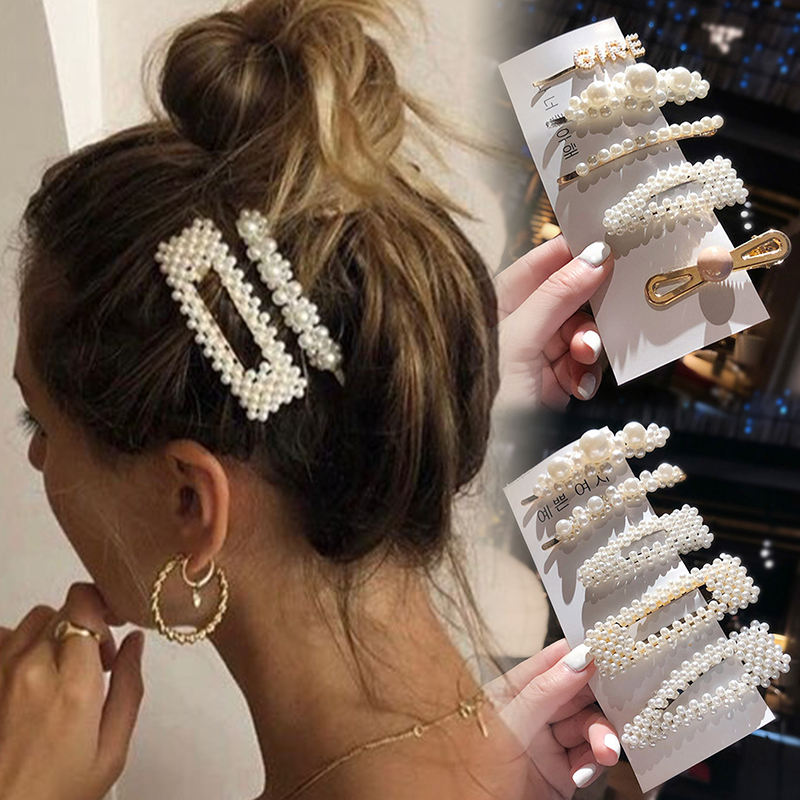 Wedding [ For Hairpins ] Pearls Hair Clips Simulation Pearl Barrette Set Hair Accessories For Women Fashion Wedding Jewelry Ivory Bead Hairpins Clip Girls