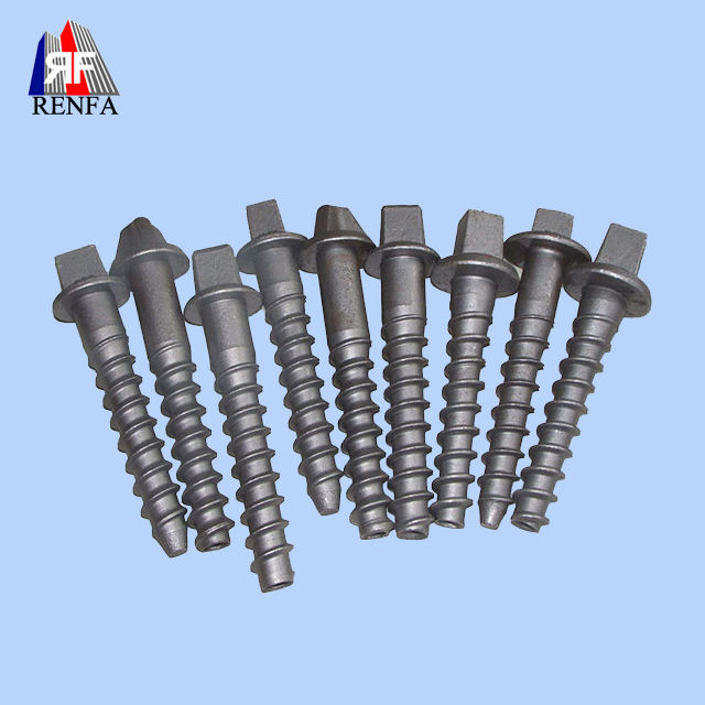 Renfa Rail Track Parts Railway Fastening System Railroad Tie Screw Spike