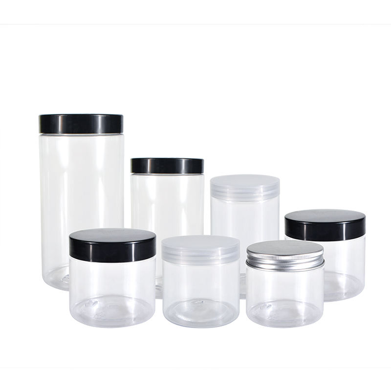 Factory Direct Sale 2oz 3oz 4oz 5oz 8oz 500ml 1000ml Food Honey Cookie Food Jar With Lid Clear PET Spice Plastic Jar