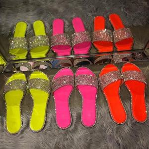 Rhinestone candy-colored slippers 2020 new women flip flop fashion wild beach shoe diamond flat bottom outdoor gliter sandals