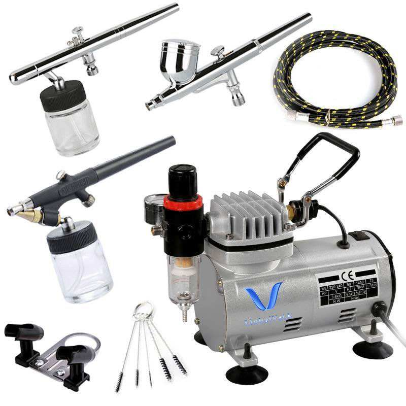 Airbrush Nails LinhaivetA Decorating Cake Nail Airbrush Compressor Air Brush Gun Paint Gel Kit