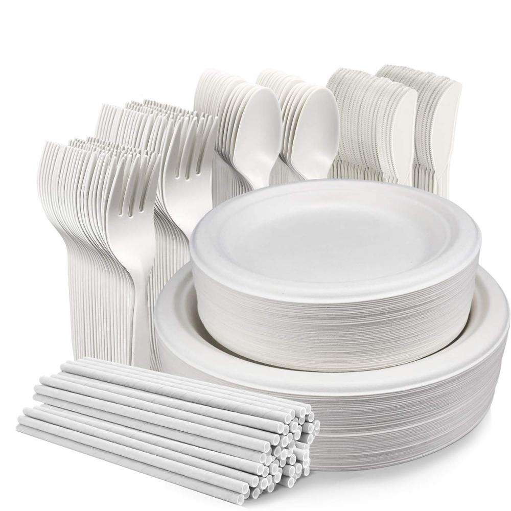 cornstarch cutlery disposable bagasse corn starch plate sets with bulk pack