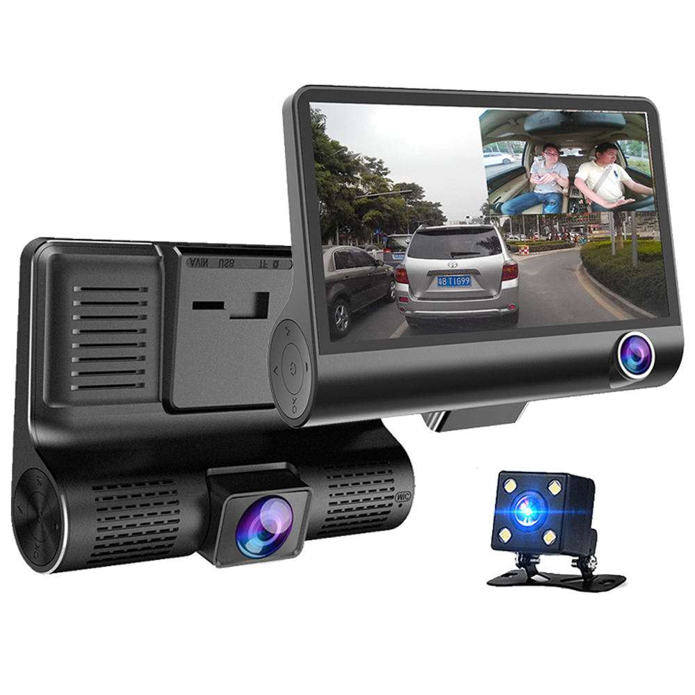 4.0 Inch IPS Screen Car Black Box 3 Cameras Lens Dual Lens Video Recorder Car DVR Car Camera Dash Cam with Rearview Camera