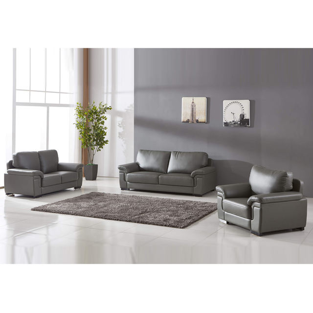 Promotion New Cheap Top Grain Genuine Leather Sectional 1+2+3 Leisure Loveseat Sofa Set