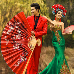[I AM YOUR FANS]Hot Selling 100% Hand Painted Red Chinese pa
