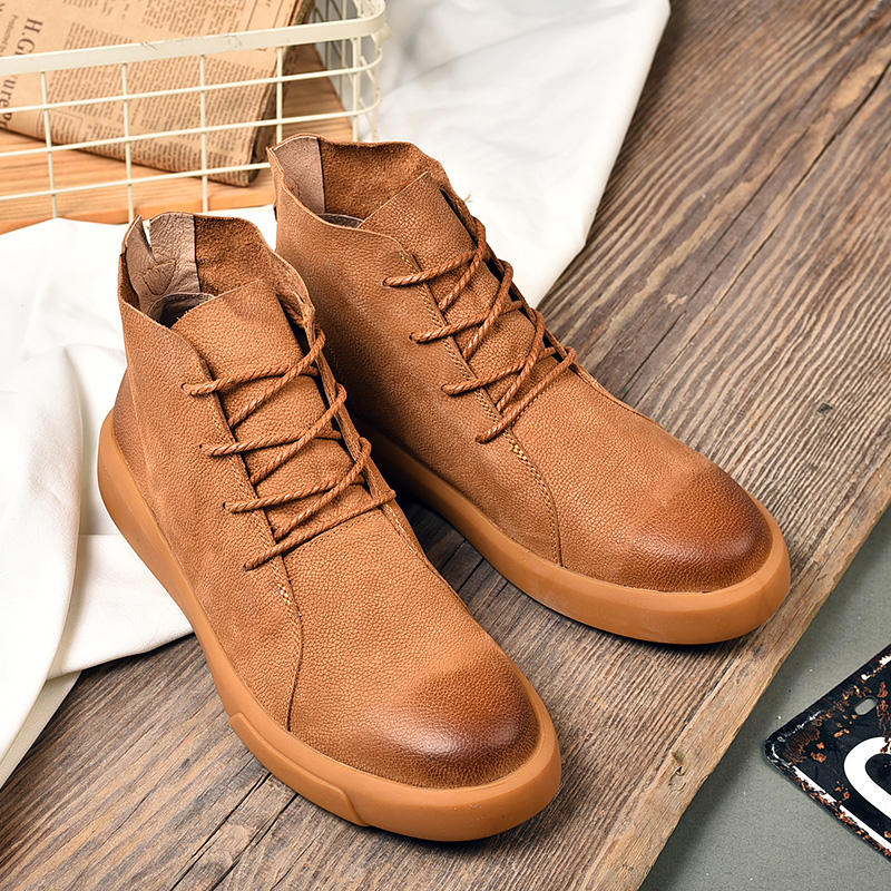 Oxfords-bottines marron pour homme, chaussures à la mode, décontractées, nouvelle collection, bottine de printemps, 2020