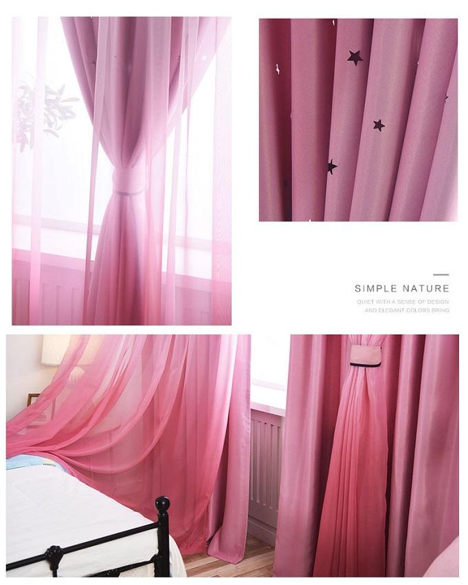 Home made blackout fabric living room curtain ready made curtain double layer curtain pink for kids girl