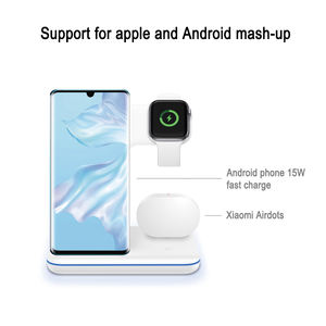 2020 15W Fast Wireless Charger Cellphone Qi Wireless Charger Portable 3 in 1 Charging Station For Iwatch Earbuds Air Pod