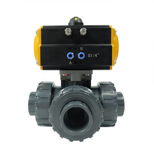 China DKV best price double acting actuator triple union thread 2 inch upvc pneumatic plastic pvc 3 ways ball valve