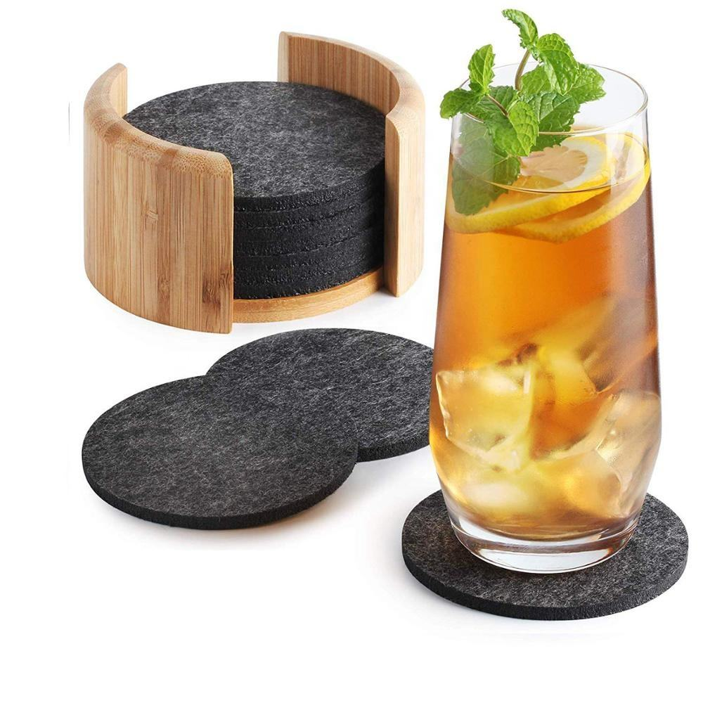 Absorbent Round Square Laser Cut Felt Drink Coasters Felt Cup Coasters Felt Coaster set with Bamboo Holder