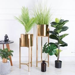 Mid-Century Metal Electroplate Golden Modern Display Indoor and Outdoor Flower Plant Stand Flower Pots
