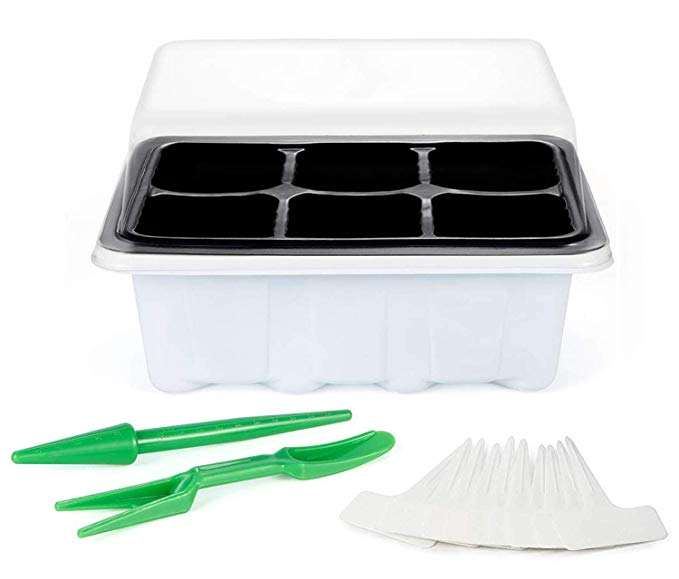 Plastic Seed Starter Trays 60 Large Cells Seeding Starter Tray Plant Germination kit with Lid