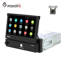Podofo 1Din Android 8.1 Car Radio Retractable 7'' Touch Screen GPS Wifi Autoradio Car MP5 Player + 12 LED Rear Camera