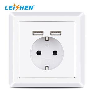 ¡Oferta! enchufe de pared USB 2.4A eléctrico europeo popular, enchufe de pared nuevo tipo alemán enchufe de pared USB eléctrico 220V EU