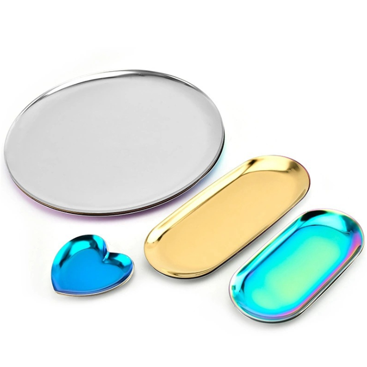 Rolling Tray Set Wholesale Hotel Restaurant Luxury Plain Rose Gold Cookie Metal Stainless Steel Decorative Serving Rolling Trays