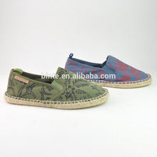 Canvas Upper Floral Pattern Slip-On Anti-Odor Espadrilles Jute Outsole TPR Durable Flat Men Shoes Casual Sport
