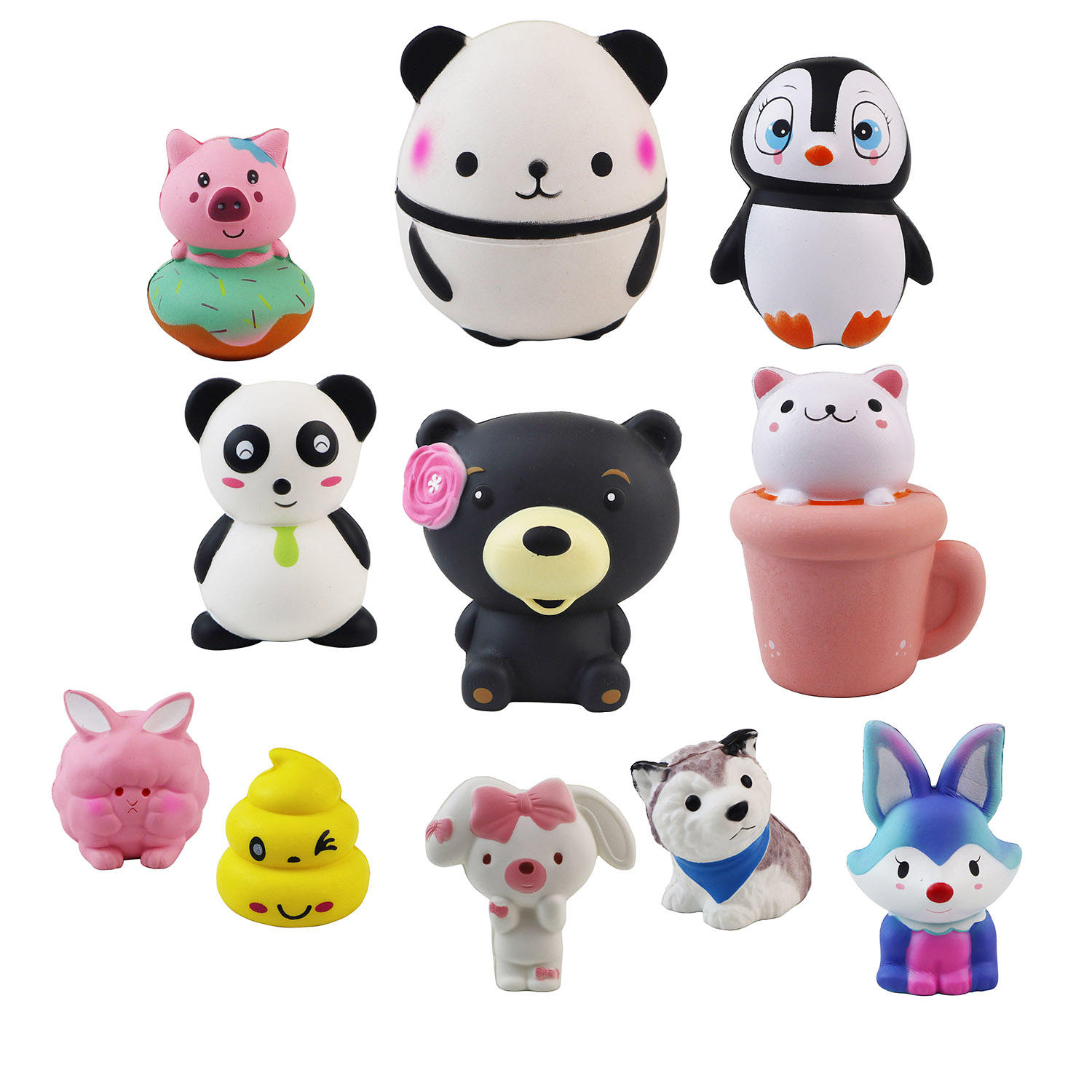 2020 New design galaxy series squishy toy slow rising jumbo colorful good cartoon panda penguin cat cup squishy other toys