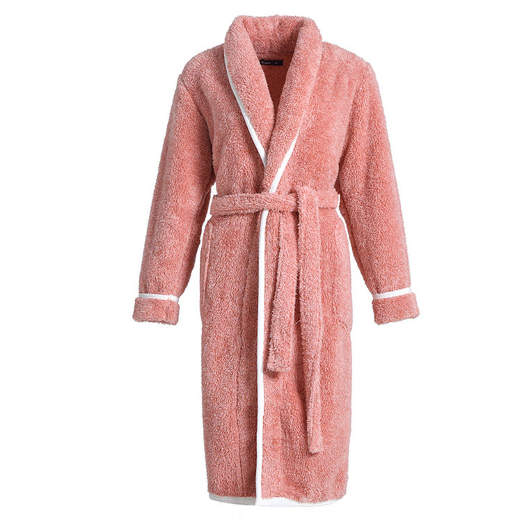 Soft Velour Bathrobes Coral Fleece Robe 100% Polyester Plush Women Bathrobe