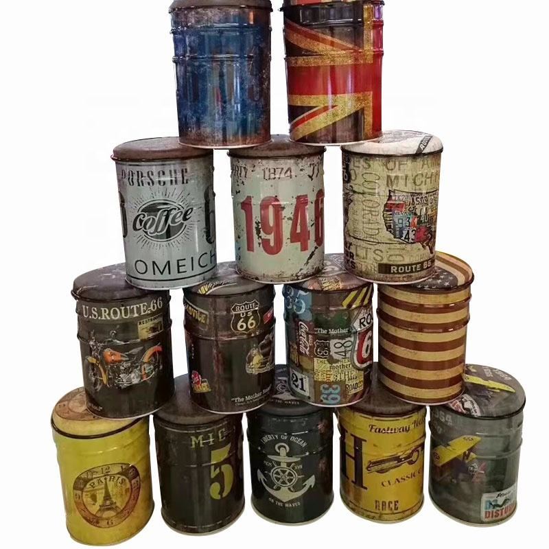 American Retro Bucket Iron Oil Metal Bar Stool Drum Paint Barrel Route 66 1946 Logo Coffee Shop Table Round Storage Stools