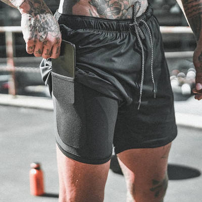 Wholesale Gym wear Cross fit shorts Mens fitness Workout short Sports Running Shorts with inner compression shorts for men